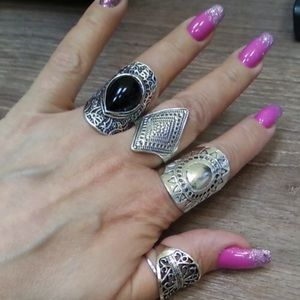 Jewelry - NEW Boho Gypsy Chic Vintage Vibe 4 Rings Jewelry